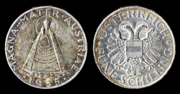 AUSTRIA, silver, 5 schilling, 1935, Mariazell