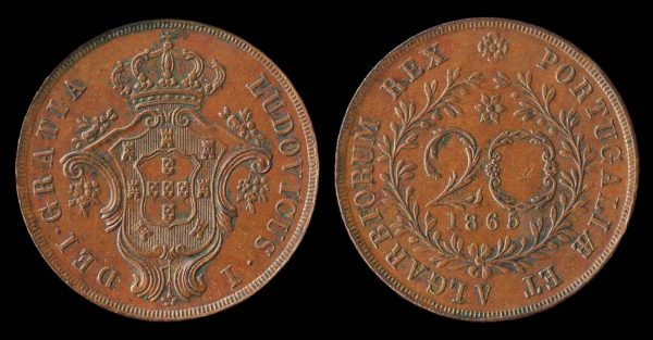 AZORES, 20 reis, 1865