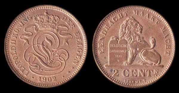 BELGIUM, 2 centimes,1902 Flemish legends