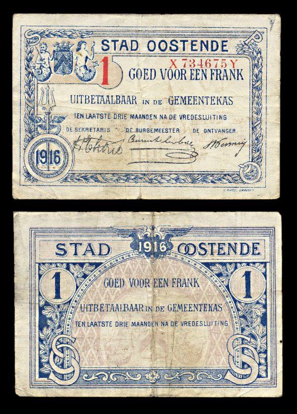 BELGIUM, OOSTENDE, 1 frank, 1916