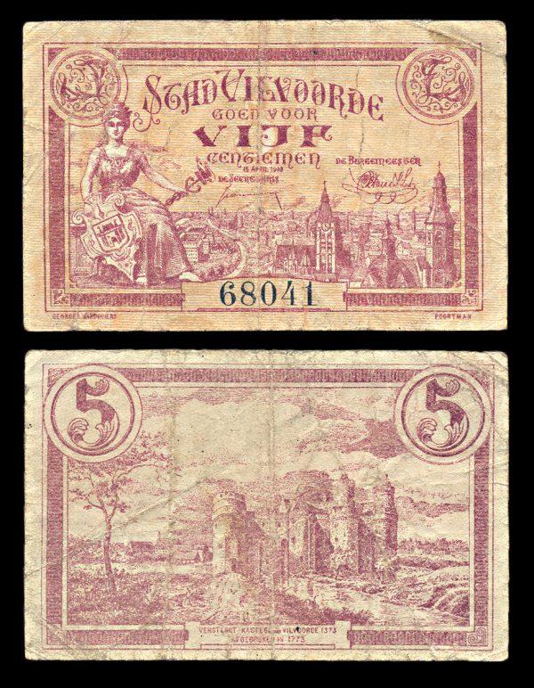 BELGIUM, VILVOORDE, 5 centiemen, 15.4.1918
