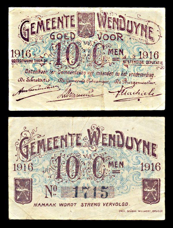 BELGIUM, WENDUYNE, 10 centiemen, 1916