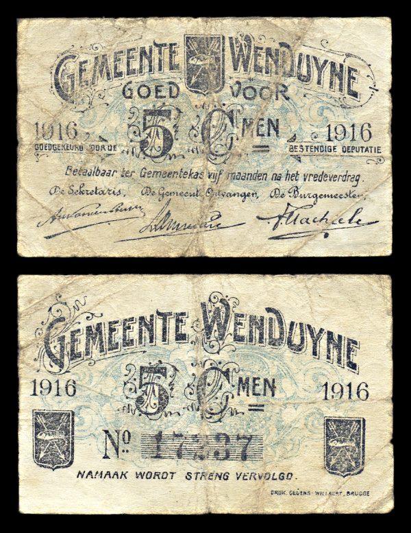 BELGIUM, WENDUYNE, 5 centiemen, 1916