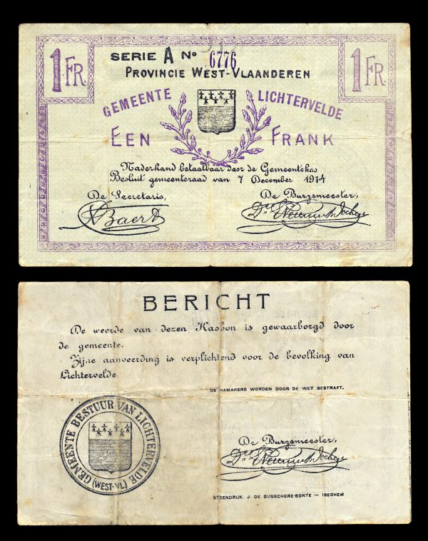 BELGIUM, WEST-VLAANDEREN, 1 frank, 7.12.1914