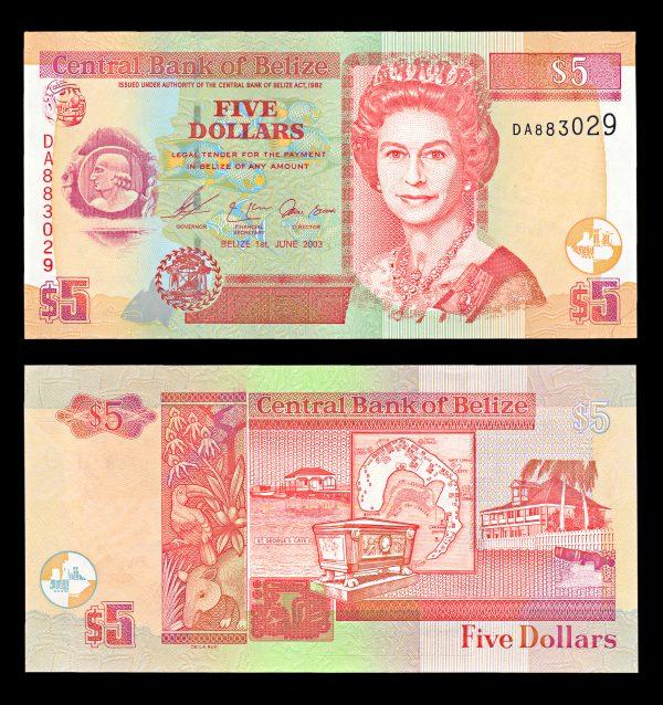 BELIZE, 5 dollars, 1.6.2003