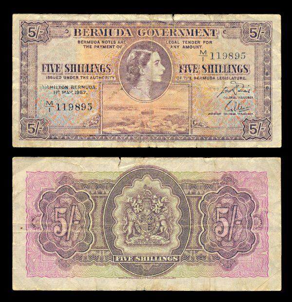 BERMUDA, 5 shillings, 1.5.1957