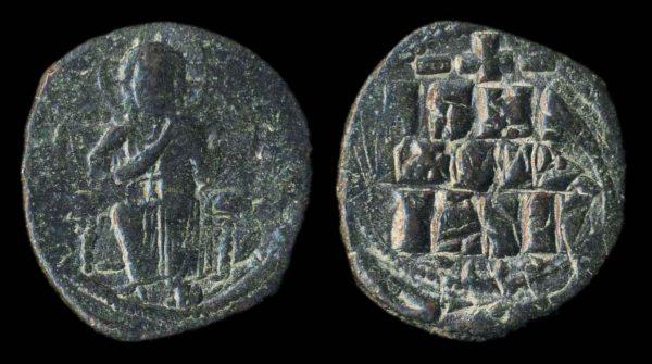 BYZANTINE, Anonymous, bronze follis, attributed to Constantine IX, 1042-55 AD
