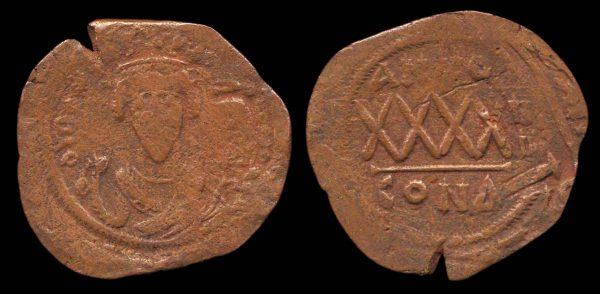 BYZANTINE, Phocas, 602-610 AD, bronze follis, year 4 Constantinople mint