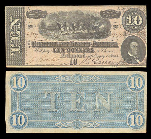 CONFEDERATE STATES OF AMERICA, 10 dollars, 17.2.1864