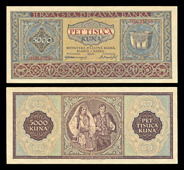 CROATIA, 5000 kuna, 1.9.1943