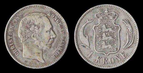 DENMARK, 1 krone, 1875