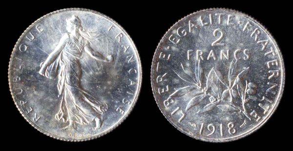 FRANCE, 2 francs, 1918