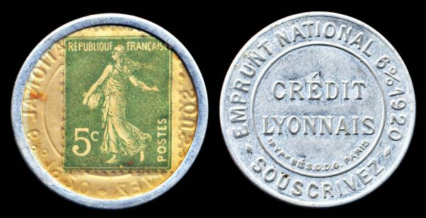FRANCE, encased postage, CREDIT LYONNAIS 1920s