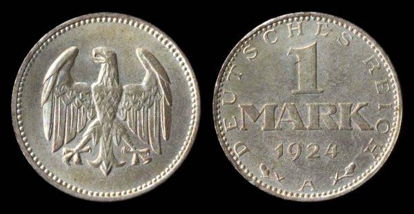 GERMANY, WEIMAR REPUBLIC, 1 mark, 1924 A
