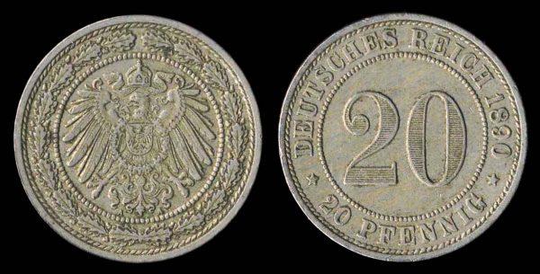 GERMANY, EMPIRE, 20 pfennig, 1890 A