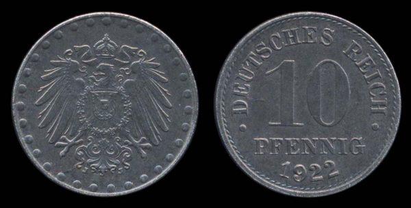 GERMANY, EMPIRE, 10 pfennig, 1922 J