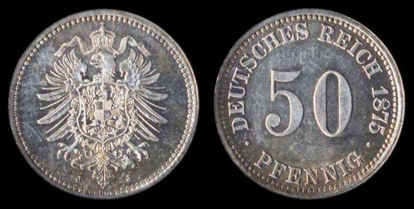 GERMANY, EMPIRE, 50 pfennig, 1875 J