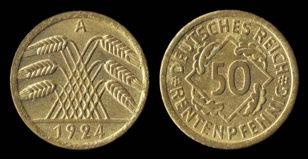 GERMANY, WEIMAR REPUBLIC, 50 rentenpfennig, 1924 A