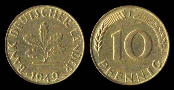 GERMANY, FEDERAL REPUBLIC, 10 pfennig, 1949 J