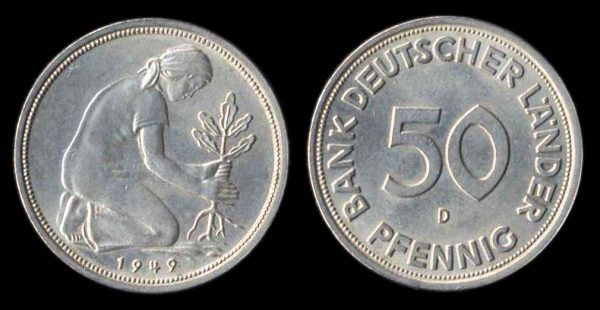 GERMANY, FEDERAL REPUBLIC, 50 pfennig, 1949 D
