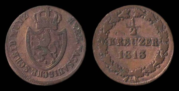 GERMANY, NASSAU, 1/2 kreuzer, 1813