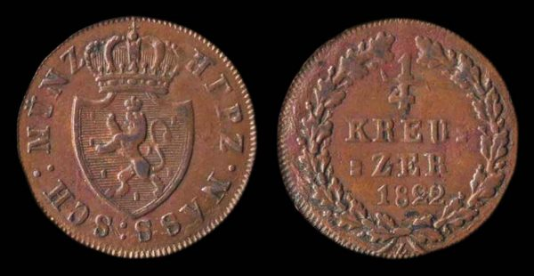 GERMANY, NASSAU, 1/4 kreuzer, 1822