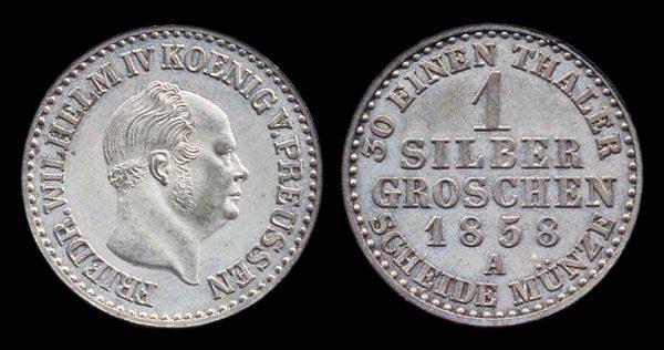 GERMANY, PRUSSIA, 1 silbergroschen, 1858 A