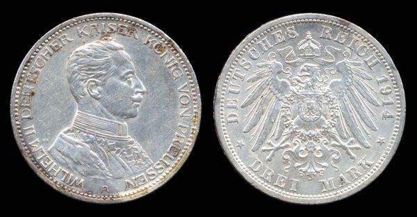 GERMANY, PRUSSIA, 3 mark, 1914 A