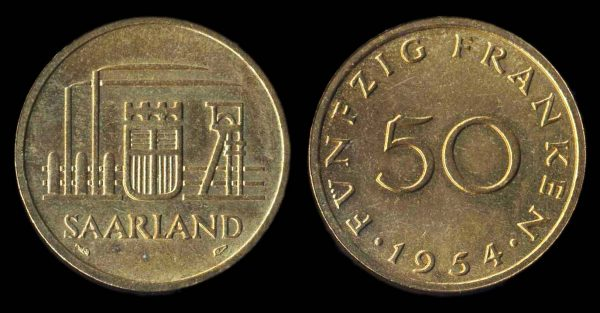 GERMANY, SAARLAND, 50 franken, 1954
