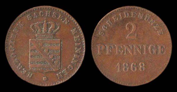GERMANY, SAXE-MEININGEN, 2 pfennig, 1868