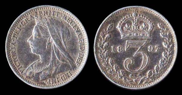 GREAT BRITAIN, 3 pence, 1897