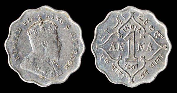 INDIA, 1 anna, 1907 B