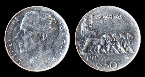 ITALY, 50 centesimi, 1921