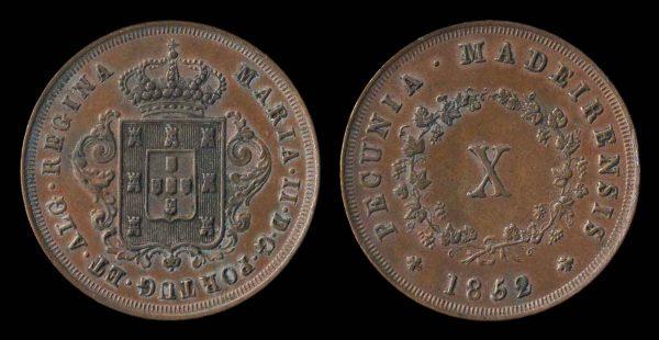 MADEIRA, 10 reis, 1852