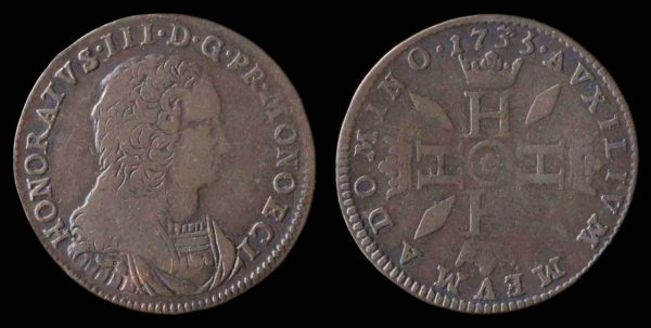 MONACO, Honore III, 1733-95, billon, 3 sols, 1735