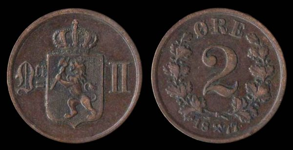 NORWAY, 2 ore, 1877