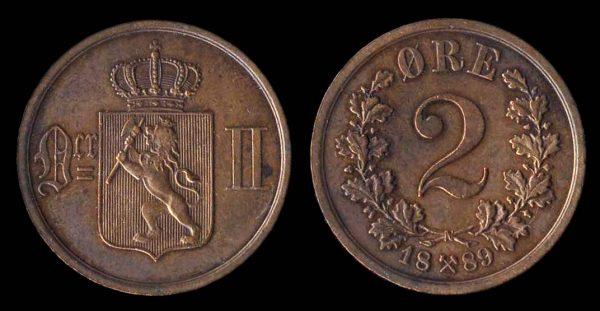 NORWAY, 2 ore, 1889