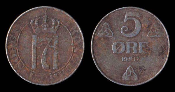 NORWAY, iron, 5 ore, 1917