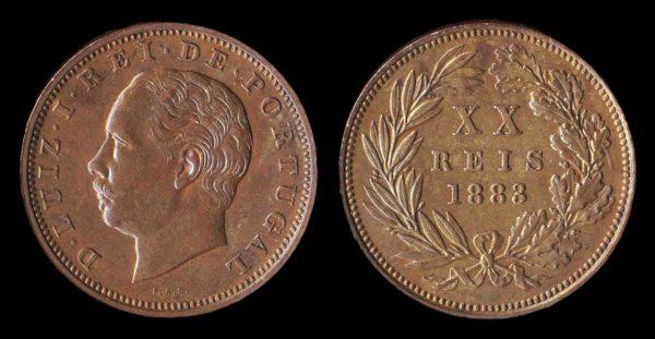PORTUGAL, 20 reis, 1883