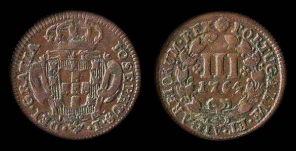 PORTUGAL, Jose I, 3 reis, 1764