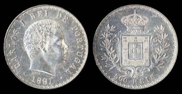 PORTUGAL, 500 reis, 1891