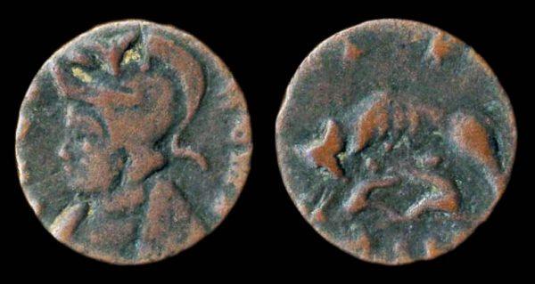 ROMAN EMPIRE, URBS ROMA commemorative, billon reduced centenionalis, circa 330-346 AD, barbarous