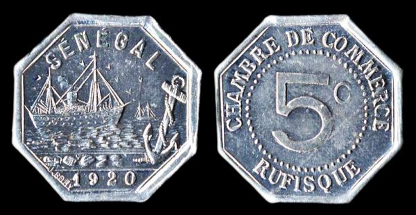 SENEGAL, RUFISQUE, aluminum, 5 centimes, 1920