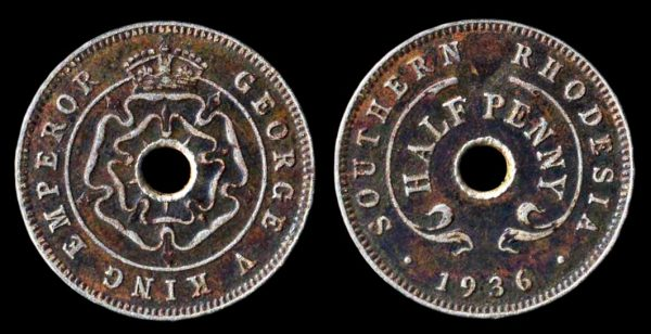 SOUTHERN RHODESIA, 1/2 penny, 1936