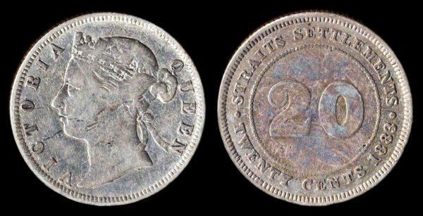 STRAITS SETTLEMENTS, 20 cents, 1883