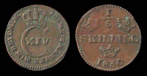 SWEDEN, 1/6 skilling, 1830