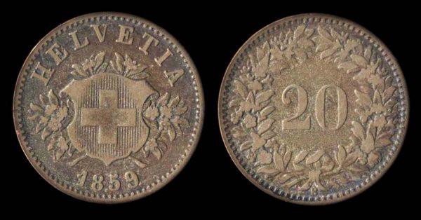 SWITZERLAND, 20 rappen, 1859