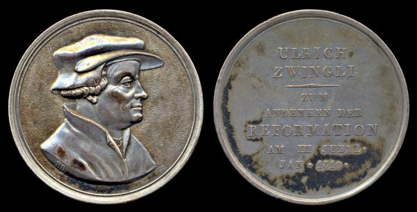 SWITZERLAND, silver religious medal, 1819, Ulrich Zwingli