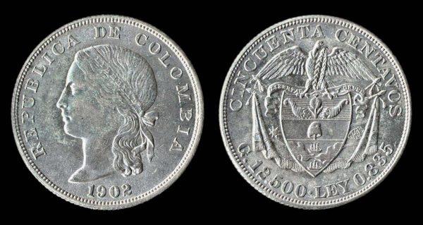 COLOMBIA 50 centavos 1902