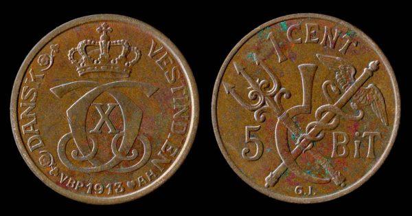DANISH WEST INDIES 1 cent 1913